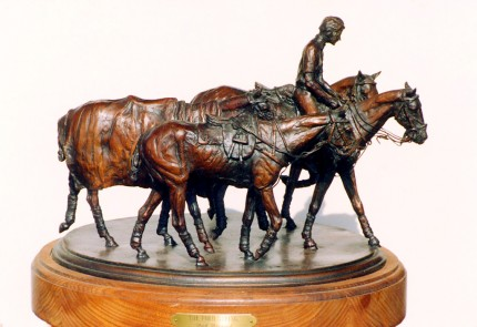 "Rich Roenisch, Canadian Contemporary ""Polo String"" Bronze, Edition of 30, 20 x 10 x 11 inches, Signed & Numbered"