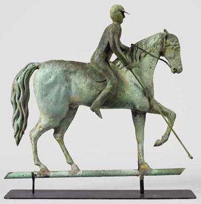 RARE ~ Polo Player on Fancy Horse Weathervane, circa 1880 19th Century Folk Art Copper full-bodied horse and rider with castings Original verdigris surface, 18 x 18 x 3 inches