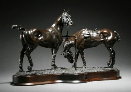 "Gill Parker, British Contemporary ""Polo X: Pony Lines"" Bronze, Edition of 9, 12 x 20 inches, Signed and Numbered"
