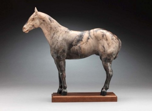 "Tammy Bality, American Contemporary ""The Polo Horse"" Handbuilt in earthware clay, Horse hair fired, Signed and Numbered"
