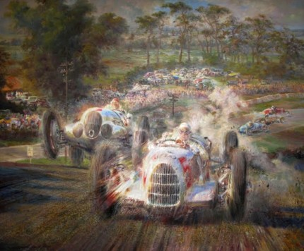 """The Race up the Hill"" Oil on canvas, 51 x 61 inches, Signed"