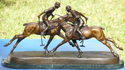 "Andre Guiet, French (1880 - 1969) ""Two Polo Players"" Bronze, 7 ¾ x 21 ½ x 11, Signed"