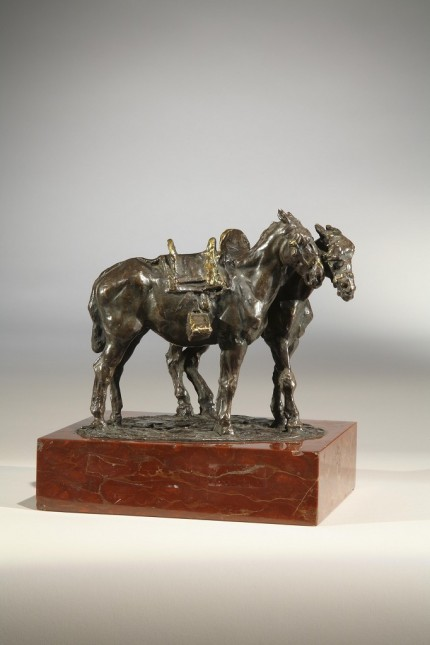 """""""Spanish Saddle Horses"""" 1923, Bronze, Medium brown patina, 5.5 x 6.5 inches, Inscribed, Signed, Dated & Numbered"""