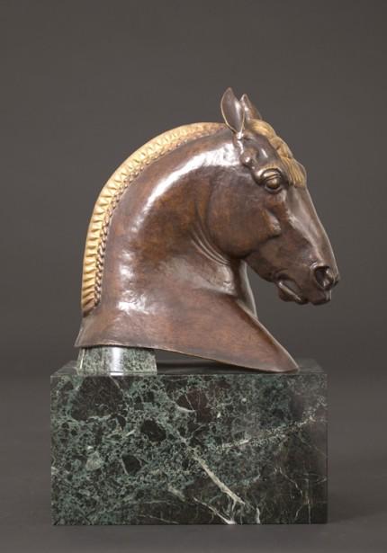 """""""Head of Suffolk Punch"""" c. 1922-1924, Bronze, Dark brown patina, 17 x 11.5 x 7.25 inches"""
