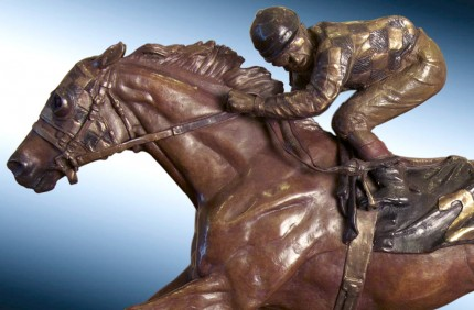 "Elizabeth Guarisco, American Contemporary ""Secretariat"" Bronze, 10.5 x 4.5 x 18 inches, Signed, Dated & Inscribed"