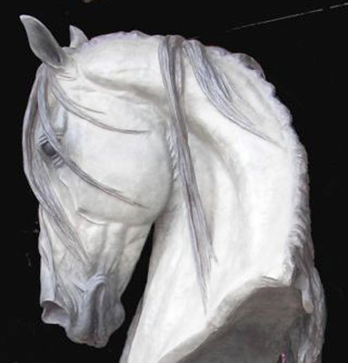 "Gill Parker, British Contemporary ""Life Size Grey Horse Head"" Bronze, Limited edition of 7, Grey and dark grey patination, 38 inches high (76 inches including bronze plinth)"