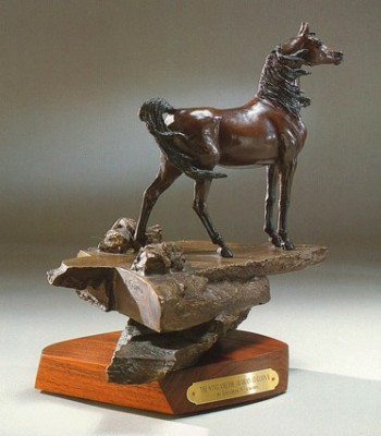 "Elizabeth Guarisco, American Contemporary ""Wind and the Arabian Stallion"" Edition: 16/24, Bronze on revolving walnut base, 11.25 x 8 x 10.5 inches, Signed & Numbered"