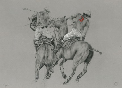 """""""Polo Drawing I"""" Graphite on paper, 20 x 28 inches, Signed"""
