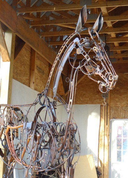 "Jenny Horstman, American Contemporary ""Yearling"" Life Size, Found objects & Welded steel, H 7' 11"" x L 10' x W 2'"
