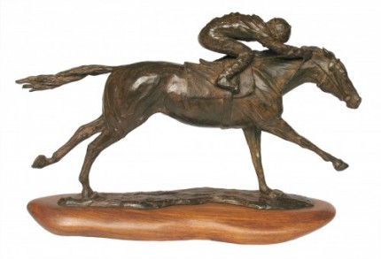 "Marcela Ganly, Argentine Contemporary ""Llegando al Disco"" Bronze, Series of 10, 8.5 x 14.5 x 3 inches, Signed & Numbered"