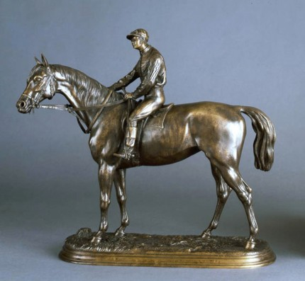 "Jules Moigniez, French, (1835-1894) ""Retour au Pesage (Weighing In)"" Bronze, 13.5 x 14.5 x 5 inches, Inscribed & Signed"