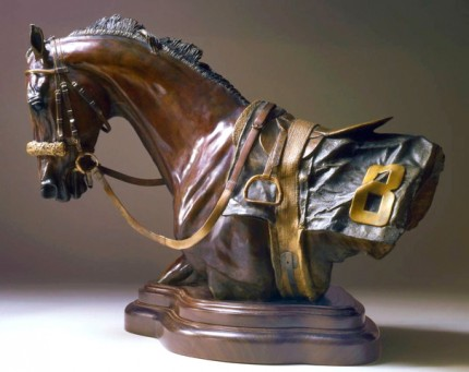 """Elizabeth Guarisco, American Contemporary """"Spirit of Competition"""" Bronze, Edition: 18/24, 12 x 18.5 x 8 inches, Signed, Dated & Inscribed"""