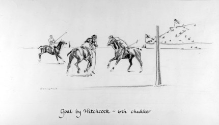 """Goal by Hitchcock ~ 6th chukker"" Charcoal on paper, 8 x 14 inches, Signed"
