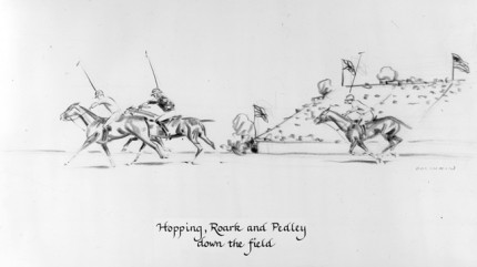 """Hopping, Roark and Pedley down the field"" Charcoal on paper, 8 x 14 inches, Signed"