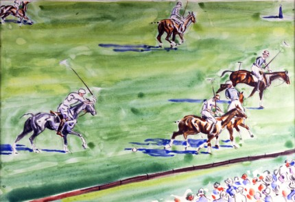 """Player No. 3, International Polo at Meadow Brook"" Watercolour & Mixed media, 11 x 16 inches, Signed"