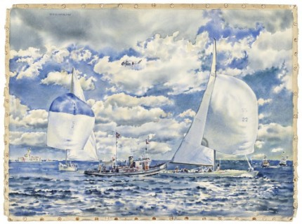 """America's Cup 1967, Wing Mark, Intrepid (US) - Dame Pattie (AUS)"" 1967, Watercolour on paper, 22.25 x 30.5 inches, Signed upper left"