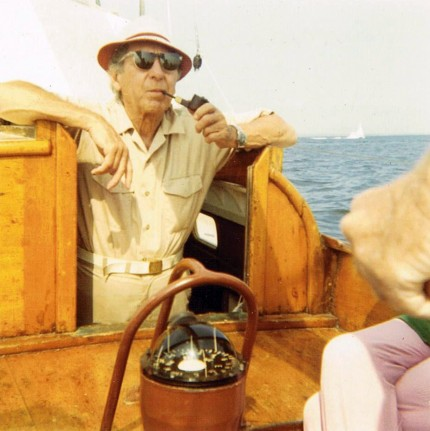 Joseph Webster Golinkin aboard Winthrop Porter Buck's loki yawl Nugget.