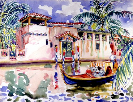 """Motorized Gondola"" Watercolour on paper, 19 ¼ x 25 inches, Signed lower left"