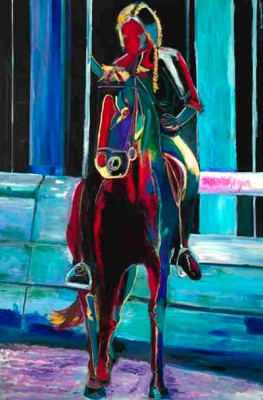 GOLDEN GATE PARK STABLES, Oil on canvas, 72 x 48 inches, Signed