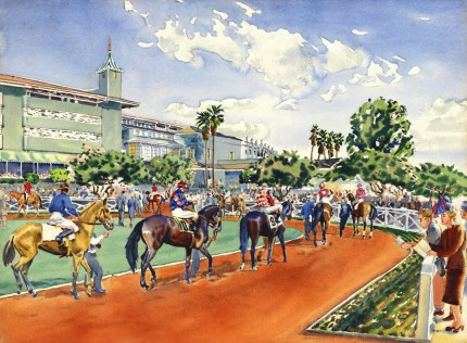 """Paddock Parade, Santa Anita, California, c. 1945"" Watercolour, 21 ⅞ x 29 ¾ inches, Signed lower right, Titled verso"