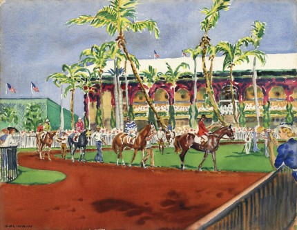 """Paddock at Hialeah, Miami, Florida, c. 1960"" Watercolour, 20 ¾ x 26 ⅞ inches, Signed lower left, Titled verso"