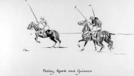 """""""Pedley, Roark and Guinness"""" Charcoal on paper, 8 x 14 inches, Signed"""