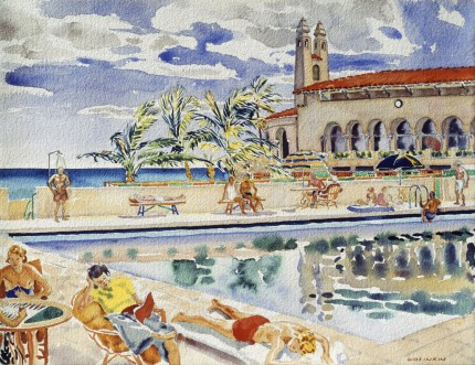 """Pool at Bath and Tennis"" Watercolour on paper, 19 ¼ x 25 inches, Signed lower right"