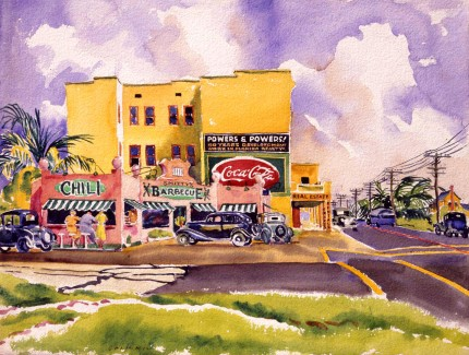 """Roadside Chili Joint"" Watercolour on paper, 19 ¼ x 25 inches, Signed lower left"