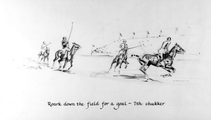 """Roark down the field for a goal ~ 7th chukker"" Charcoal on paper, 8 x 14 inches, Signed"