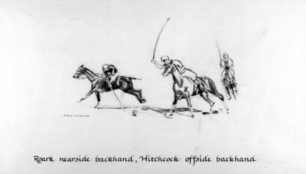 """""""Roark nearside backhand, Hitchcock offside backhand"""" Charcoal on paper, 8 x 14 inches, Signed"""