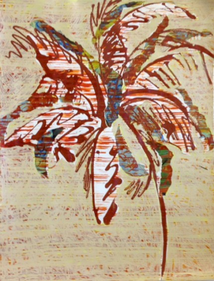 """Red Water Palm"" Mixed Media, 55 x 44 inches"