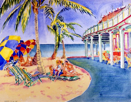 """The Original Bath & Tennis Club, Palm Beach, Established in 1926, just south of the current Breakers Resort"" Watercolour on paper, 19 ¼ x 25 inches, Signed lower left"