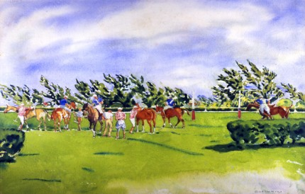 """US Open Final 1936, Greentree team defeats Aurora at Meadow Brook, Jock Whitney, Mike Phipps, Pete Bostwick and Stewart Iglehart"" Watercolour & Mixed media, 11.5 x 18 inches, Signed"