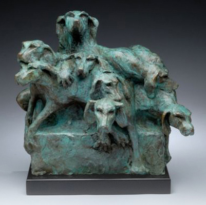"Diana Reuter-Twining, American Contemporary ""Kennel Up"" Bronze, 15 x 16 x 12 inches, Signed"