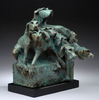 "Diana Reuter-Twining, American Contemporary ""Kennel Up"" (view 2) Bronze, 15 x 16 x 12 inches, Signed"
