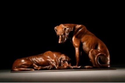 "Gill Parker, British Contemporary ""Hounds"" Bronze, Limited edition of 9, Chestnut brown patination, 7 x 14 inches, Signed"