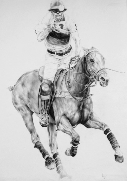 """""""Polo Drawing VII"""" Graphite on paper, 28 x 20 inches, Signed"""