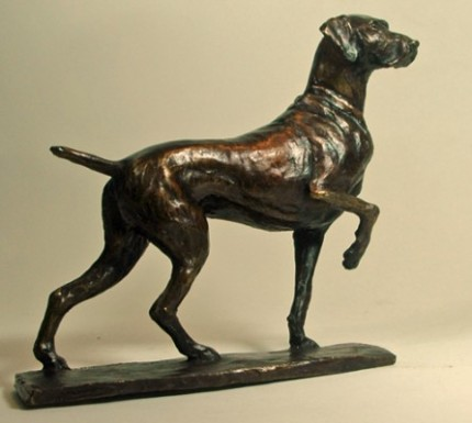 "Deborah Hurt, British Contemporary ""Lennie - German Shorthaired Pointer"" Bronze, Edition of 25, 6 x 2 x 8 inches, Signed"