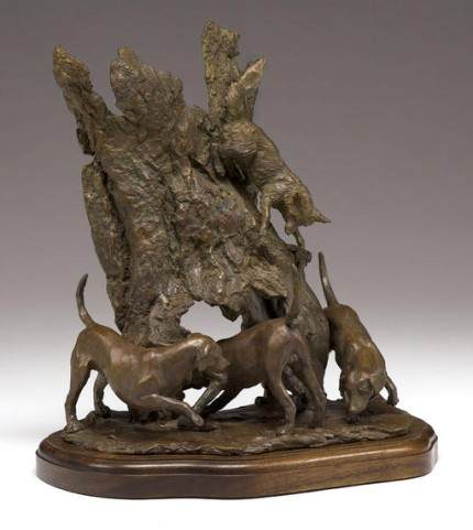 "Carrie Quade, American Contemporary ""Fox and Hounds"" Bronze, Edition of 35, 12 x 9 x 7 inches, Signed"