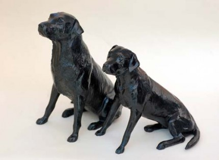 "Deborah Hurt, British Contemporary ""Tash & Bramble"" Bronze, Edition of 25, 5 x 3 x 4 inches, Signed, Available as a pair or individually. Labrador bitch and her daughter."