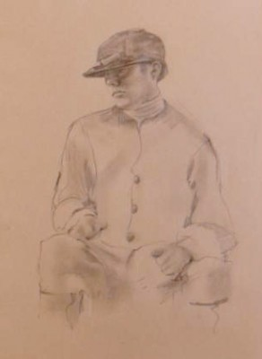 """Jockey Drawing V"" Graphite on paper, 19 x 12 inches"