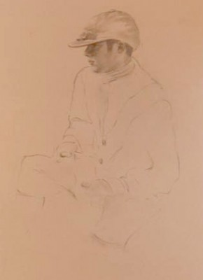 """Jockey Drawing VI"" Graphite on paper, 19 x 12 inches"