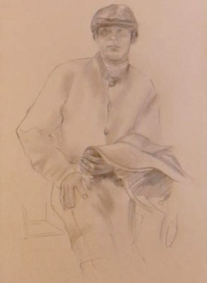 """Jockey Drawing VII"" Graphite on paper, 19 x 12 inches"