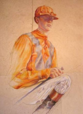 """Jockey Pastel I"" Pastel on handmade paper, 62 x 46 inches"