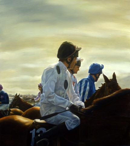 """Jockeys Aintree"" Watercolour, 24 x 22 inches"