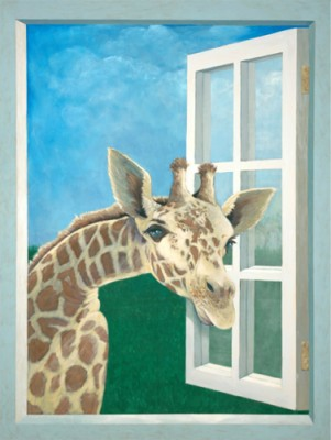 """Giraffe"" Acrylic on canvas, 58 x 44 inches, Signed"