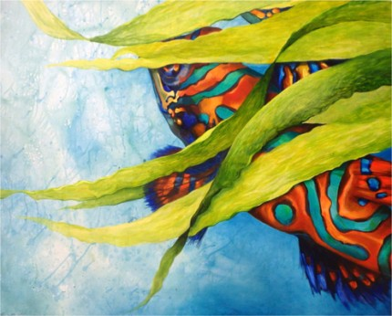 """Goby"" Acrylic on canvas, 36 x 47 inches, Signed"