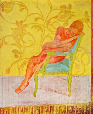 """""""Green Chair"""" Acrylic on canvas, 72 x 60 inches, Signed"""