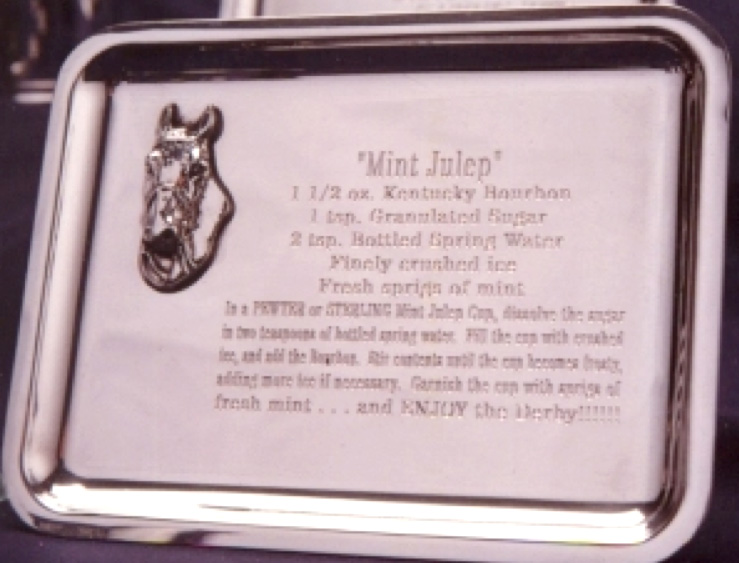 Pewter Rectangular Tray with Mint Julep Recipe & Horsehead Appliqué