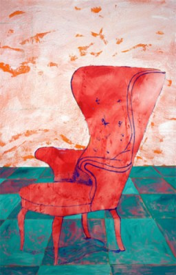 """""""Wingback"""" Acrylic on canvas, 83 x 50 inches, Signed"""
